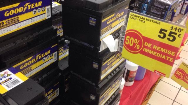 50% de réduction sur les batteries Goodyear - Ex: Batterie 12V, 62Ah, 540A (Auchan Roncq/Tourcoing - 59)