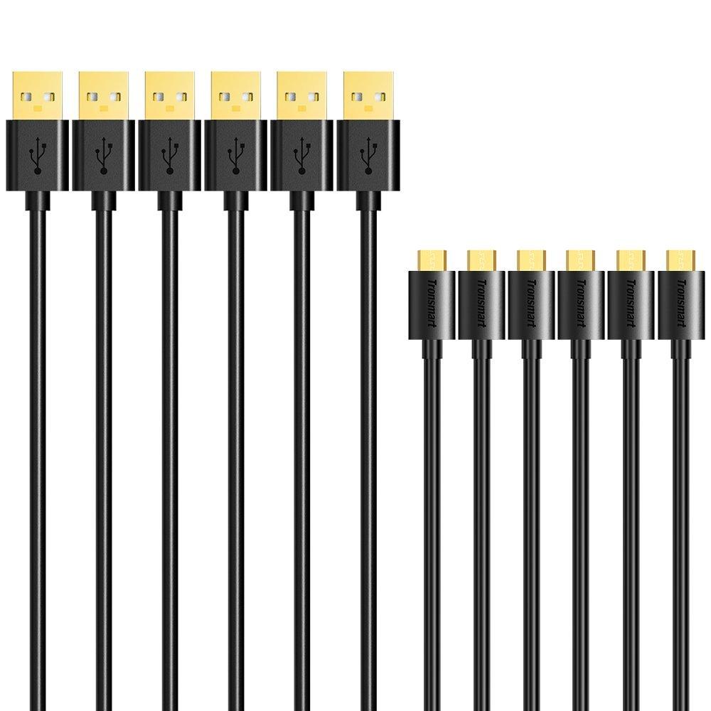 Pack de 6 câbles microUSB plaqué or Tronsmart - 30cm, 3x1m, 3x1.8m (Vendeur tiers)