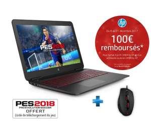 "PC Portable 15.6"" HP- Omen 15-AX246NF - Full HD IPS, i5-7300HQ, 6 Go RAM, GTX 1050 - 2 Go, HDD 1 To, Windows 10 +  PES 2018 + Souris (via ODR 100€)"