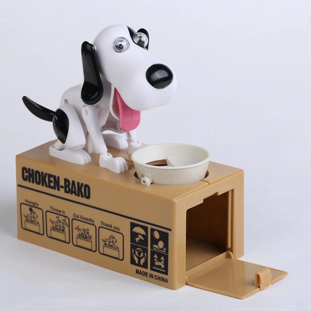 Tirelire électrique chien affamé - Noir et Blanc
