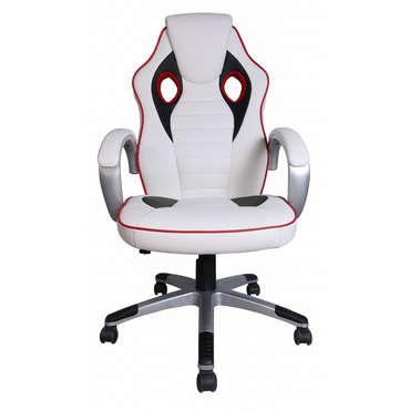 Fauteuil de bureau F1 coloris blanc, rouge et noir