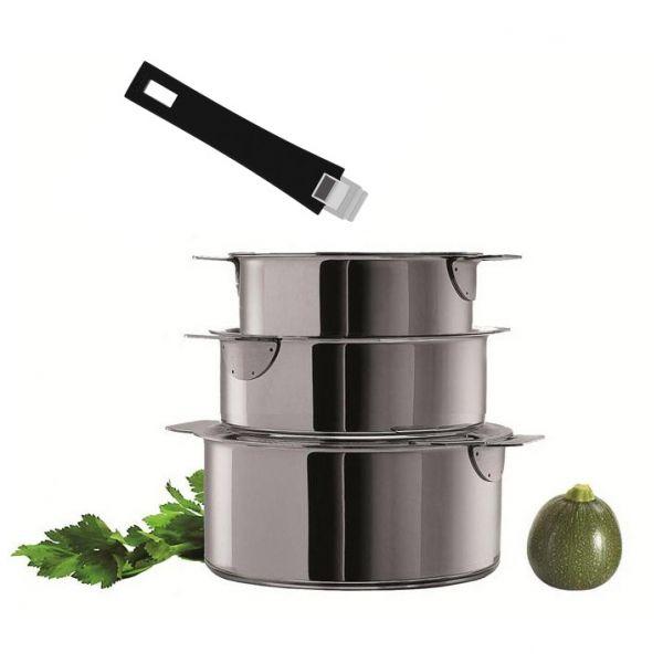 Set de 3 casseroles Cristel à poignée amovible 16 - 18  - 20 cm + poignée noire