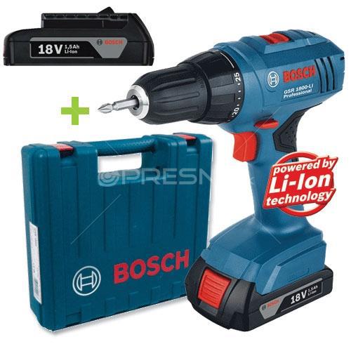 Perceuse visseuse Bosch GSR 1800-LI Professional + 2 X 1,5 Ah