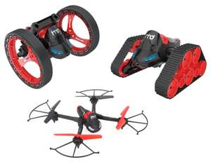 Jouet RC transformable 3-en-1 HEHENGDA TOYS H3 (Drone + Tank + Stunter) - WiFi FPV, 2.4 GHz, 6 Axes, Caméra 0.3 MP