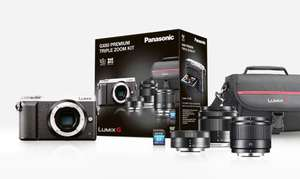 Appareil photo hybride Panasonic Lumix DMC-GX80 + Objectif 12-32 mm + Objectif 35-100 mm + Objectif 25 mm + Carte SDHC 8 Go (via ODR de 100€)