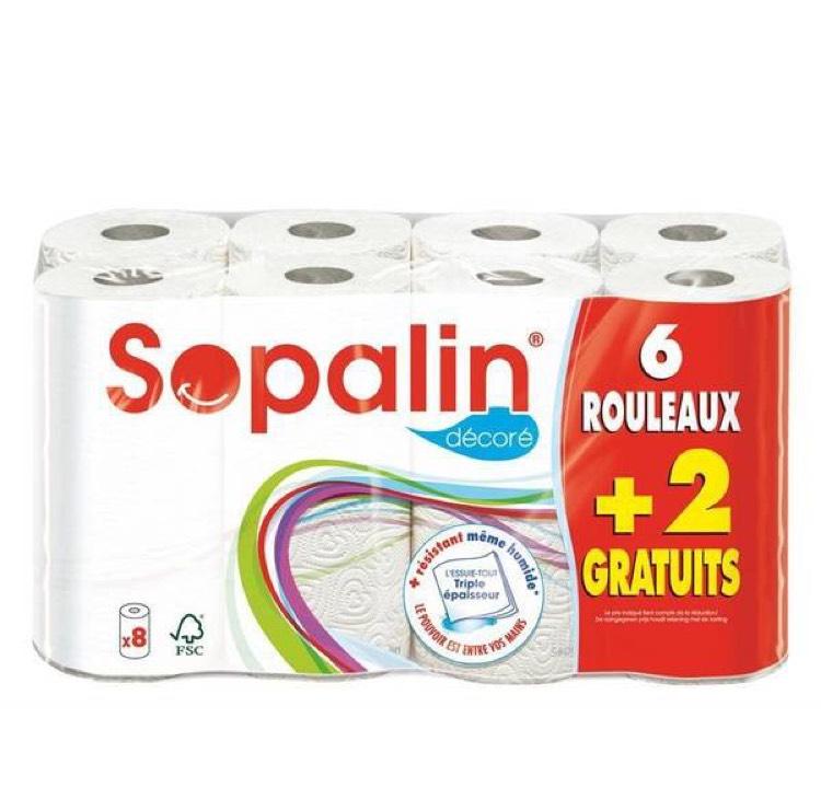 Lot de 8 Rouleaux d'Essuie-tout Sopalin Décorés - Poitiers et Chasseneuil-du-Poitou (86)