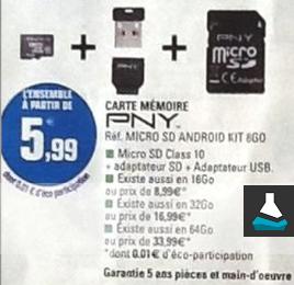 Kit Micro SD PNY Classe 10 (de 8 à 64Go) + Adaptateur USB + Adaptateur SD