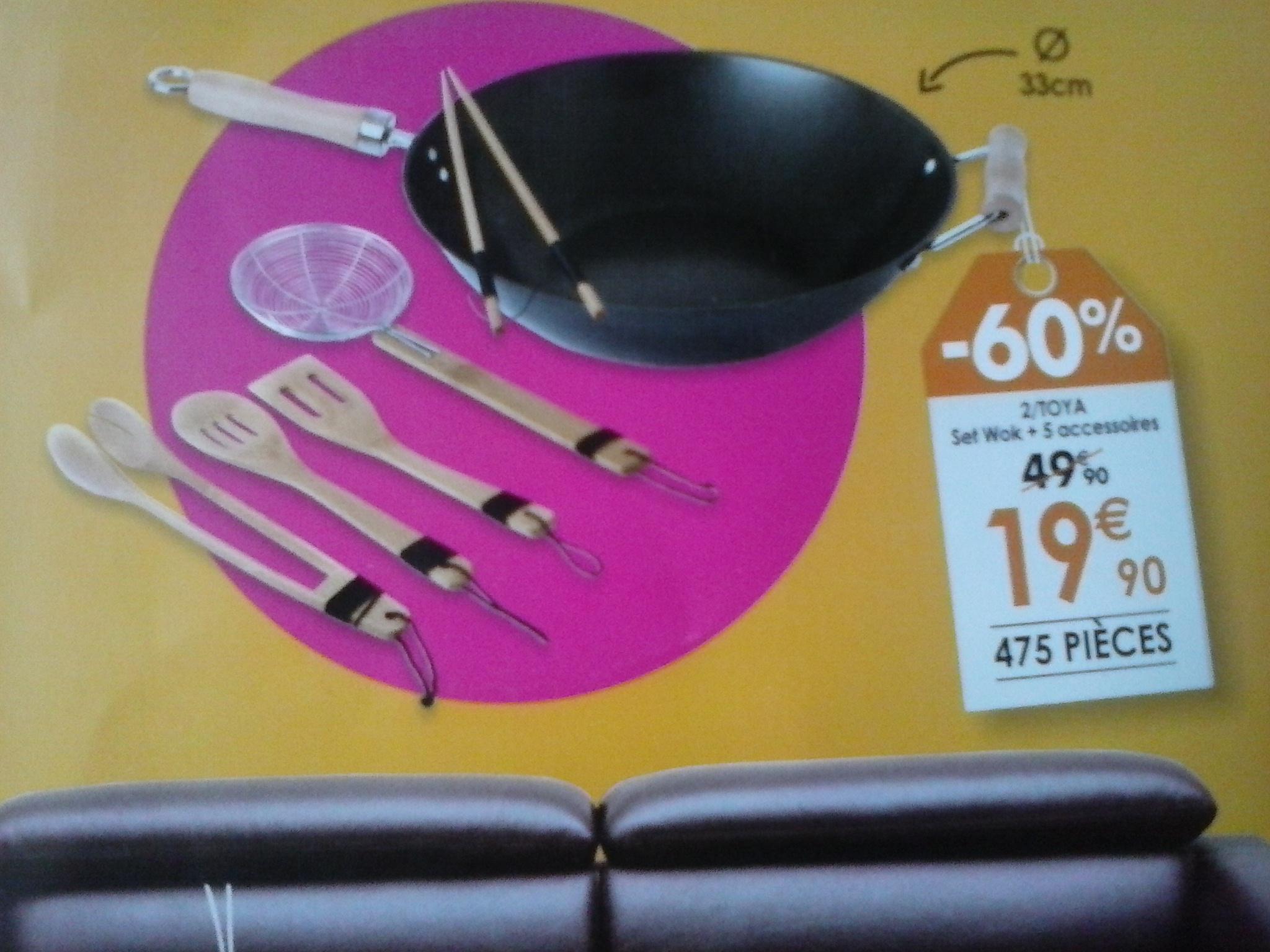set wok en acier de 33cm  Toya  + 5 accessoires