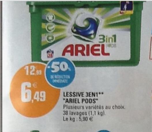Lessive Ariel 3 en 1 Pods - 38 lavages (BDR 2€)