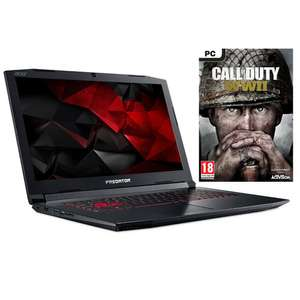 "Sélection de PC Portables en promotion - Ex : 17.3"" Acer Predator Helios 300 (PH317-51-54MB) - Full HD, i5-7300HQ, RAM 8 Go, SSD 128 Go + HDD 1 To, GTX 1060 6 Go, Windows 10 + Call of Duty : World War II (via ODR de 200€)"