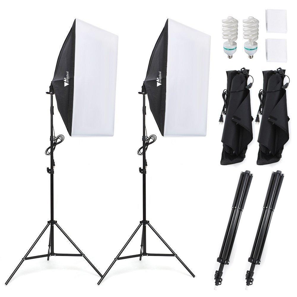 Kit d'éclairage studio Amzdeal - boîte à lumière (50x70 cm) + 2 ampoules + accessoires (vendeur tiers)