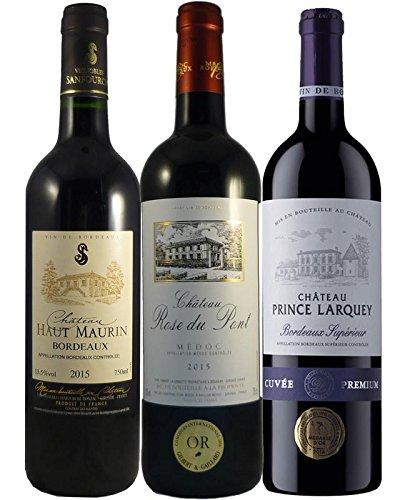 Coffret 3 Vins Bordeaux Millésime Exceptionnel : Château Haut-Maurin 2015, Châteaux Prince Larquey 2015, Château Rose Du Pont 2015 - 3x75cl (vendeur tiers)