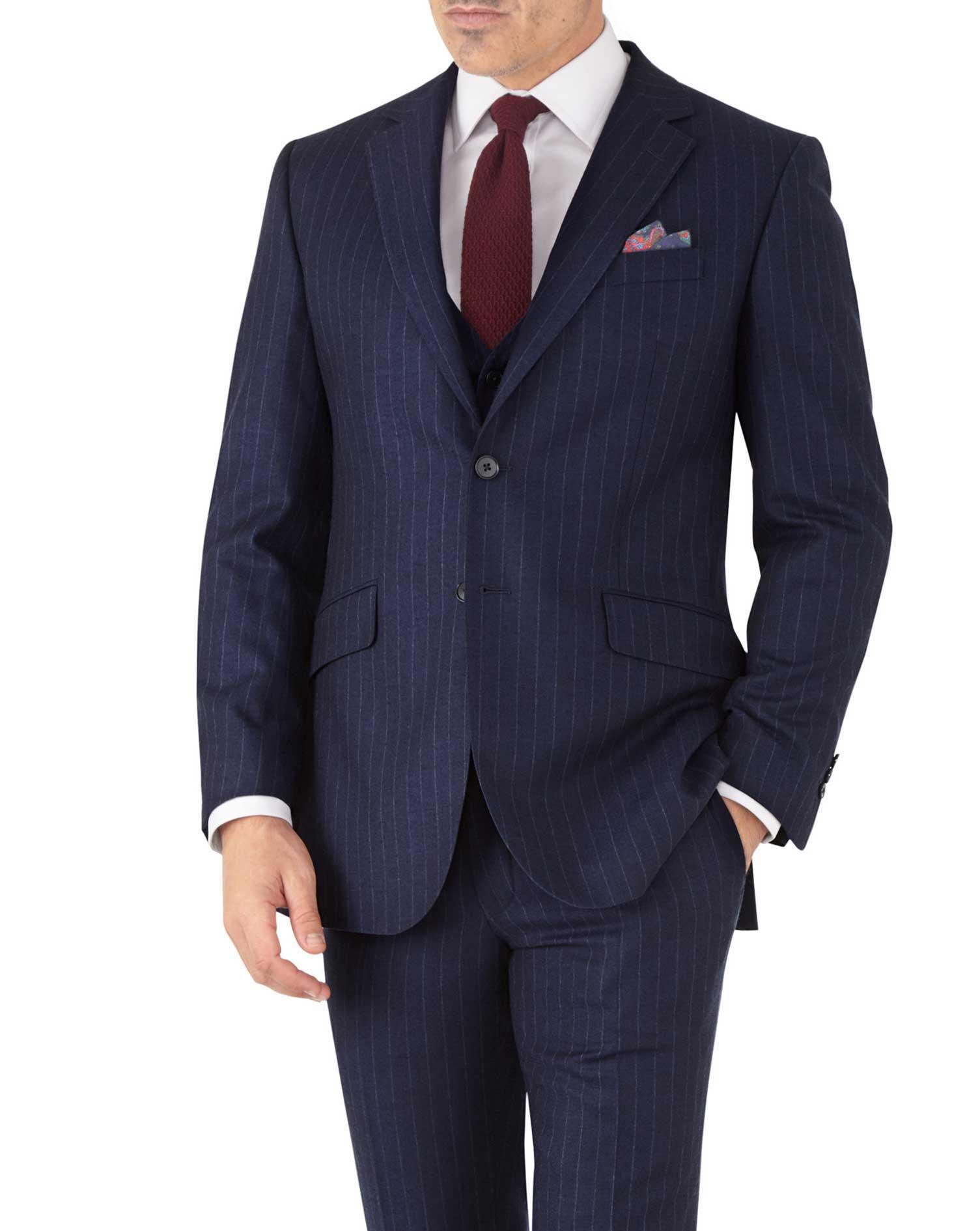 Costume Business - Bleu marine en flanelle slim fit à rayures
