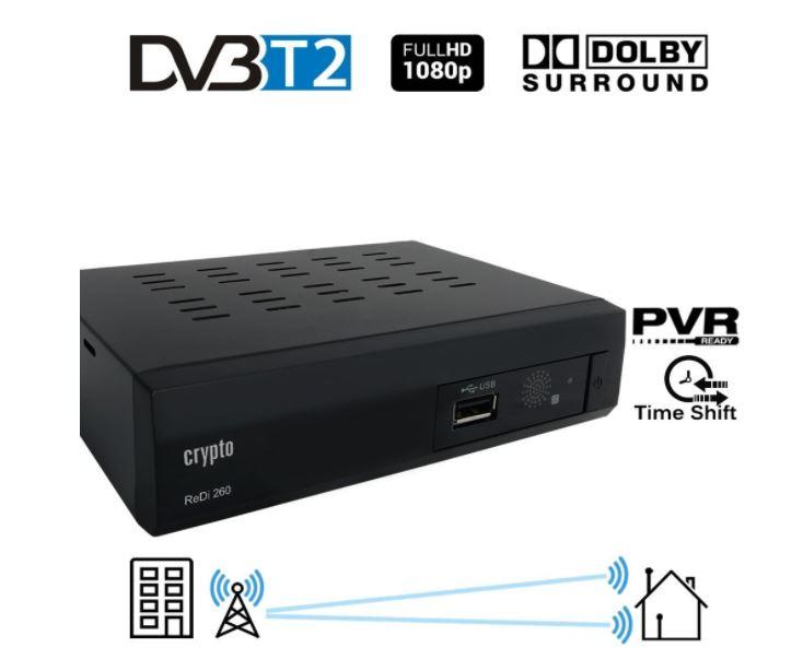 Adaptateur TNTCrypto Redi 260 1080P Full HD 1080P DVB-T2  décodeur tnt hd avec Dolby Full Multimédia Lecteur H.264 / MPEG-2/4