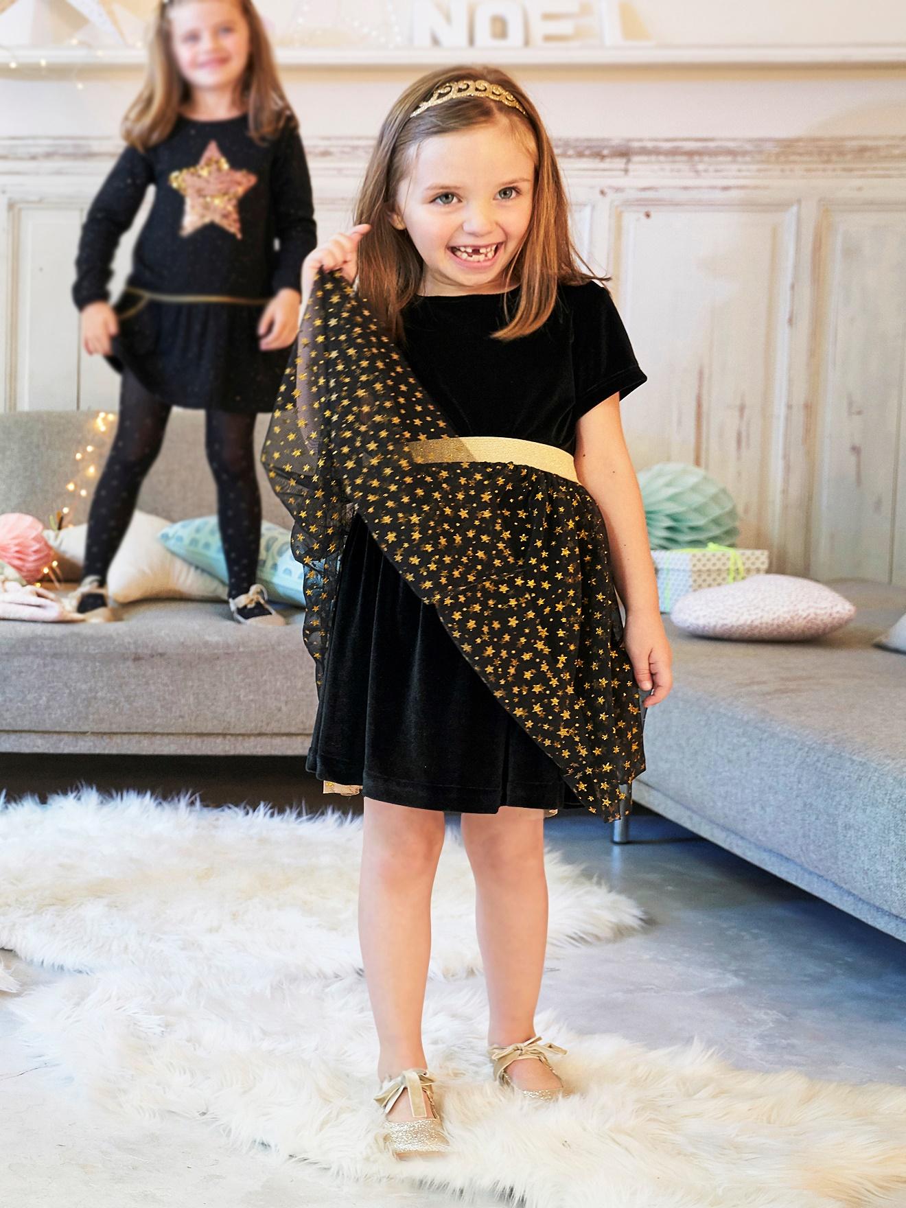 Robe de fête fille avec 3 jupons pour fille - Noir