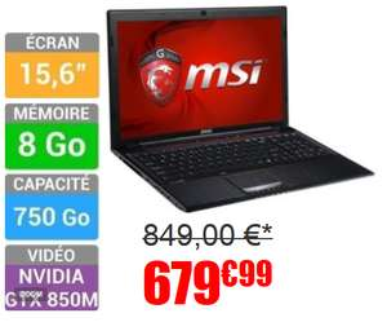 "PC portable 15,6"" MSI Gamer GE60 2PL - i5 4200H"