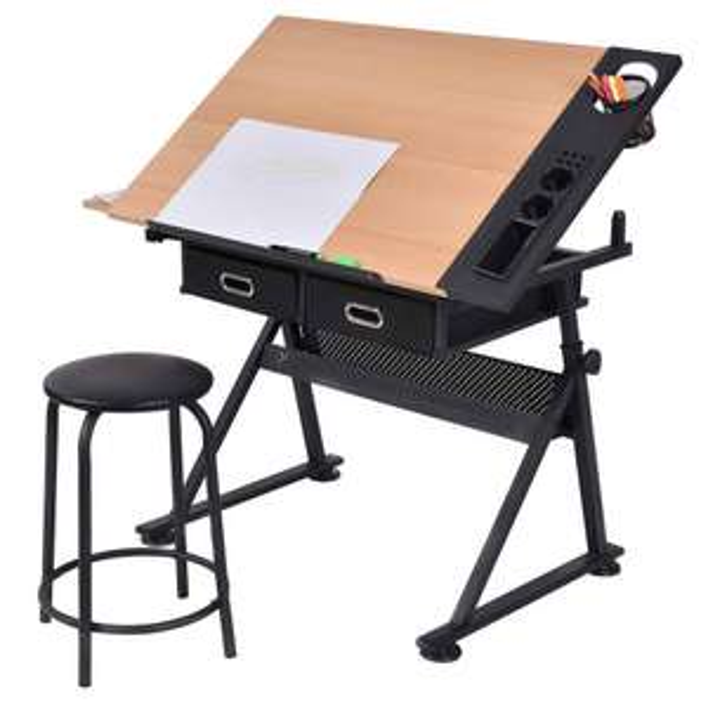 table dessin inclinable avec tabouret. Black Bedroom Furniture Sets. Home Design Ideas