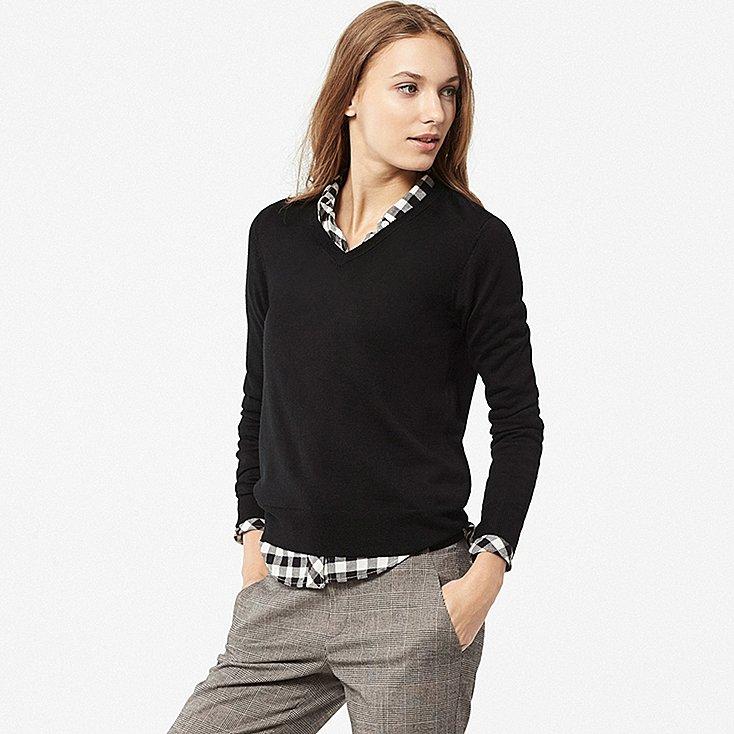 Pull mérinos col en V Uniqlo pour femme - Divers coloris et tailles