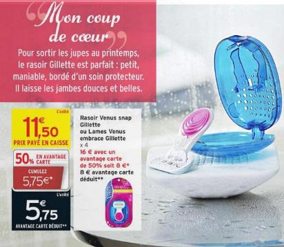 Rasoir Venus (50% avantage carte, 3€ BDR, 2€ c-wallet)