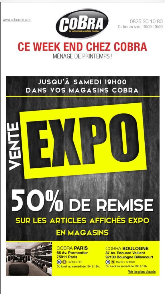 50%  de réduction immédiate sur les modèles d'expositions indiqués