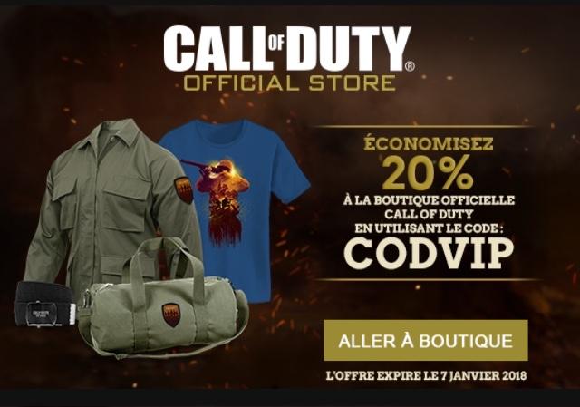 20% de réduction sur les produits du shop Call Of Duty