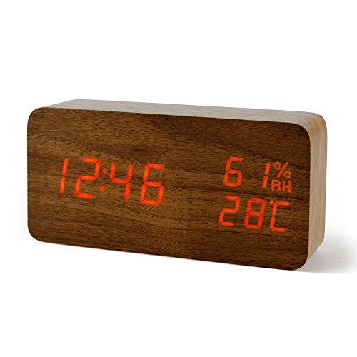 Réveil Matin Fibisonic Reveil Bois Horloge de Voyage Réveil LED - (vendeur tiers)