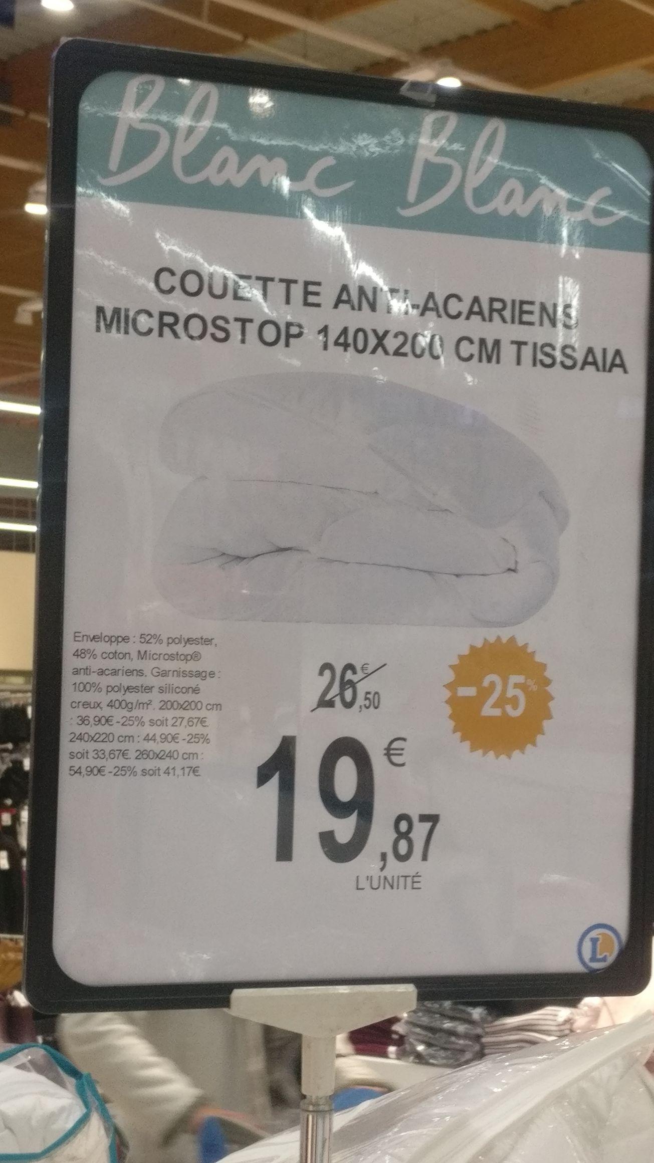 Sélection de Couettes Tissaia en promo - Ex : Couette anti-acariens 140x200 Tissaia -  Leclerc Blanc Mesnil (93)