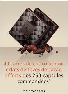 40 carrés de chocolat noir éclats de fèves de cacao offert dès 250 capsules achetées