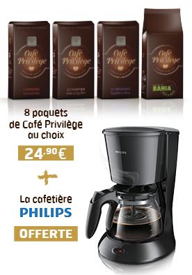 Pour l'achat de 8 paquets de café (24,90€) = Cafetière Philips offerte