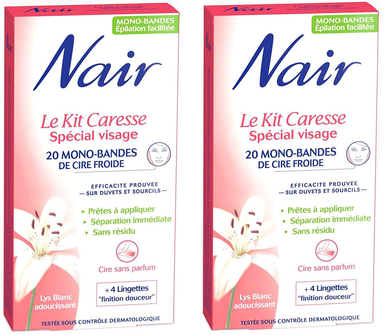 2 paquets Nair Caresse Spécial Visage (20 bandes de cire froide)