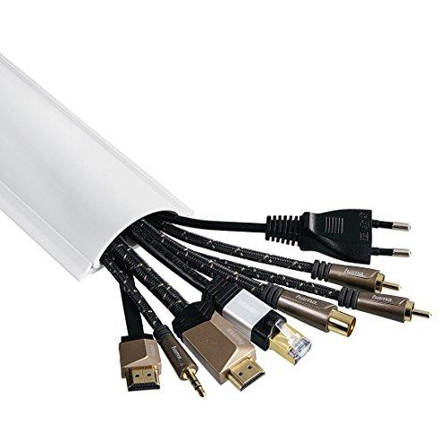 [Prime] Conduit de Câbles (semi-circulaire, auto-adhésif, 100 x 7 x 2,1 cm, jusqu'à 8 Câbles), Blanc