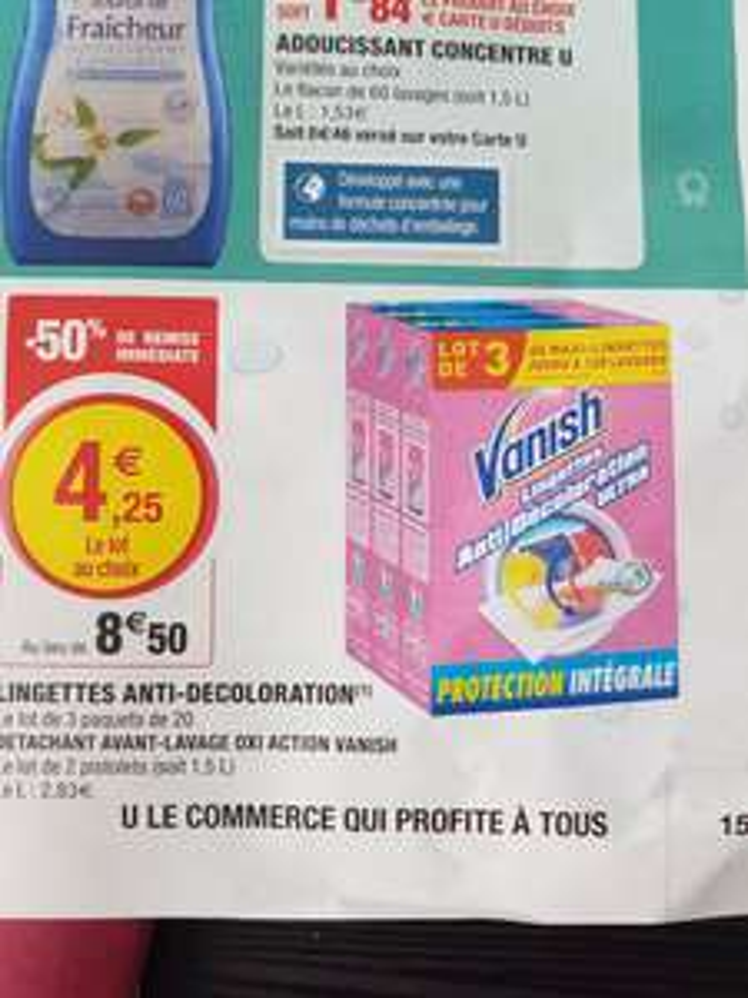Lot de 3 paquets de 60 lingettes anti-décoloration Vanish Ultra Protection Intégrale