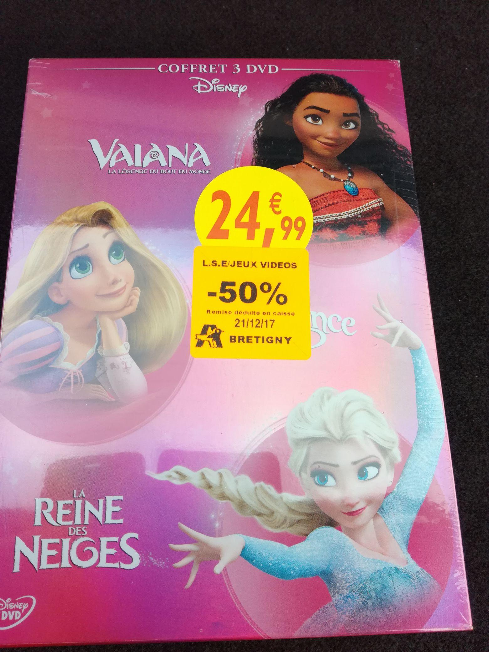 50% de réduction sur une sélection de films - Ex : coffret 3 DVD Disney Vaiana & La Reine des Neiges au Auchan Brétigny-sur-Orge (91)