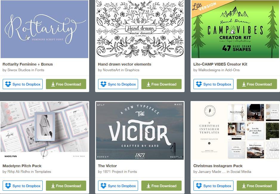 6 éléments graphiques gratuits (police, modèle de CV, template Instagram)