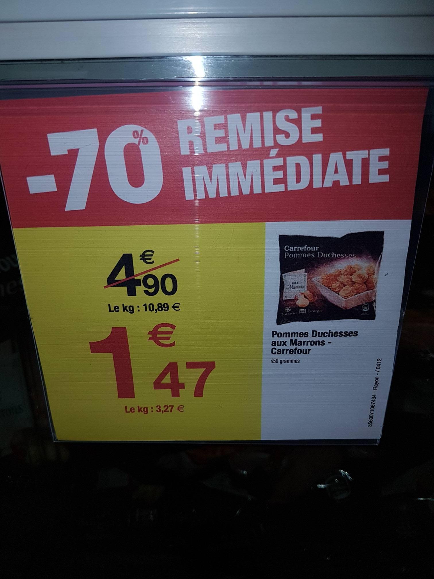 Sachet de pommes duchesses aux marrons Carrefour - 450 g au Carrefour Mayol Toulon (83)