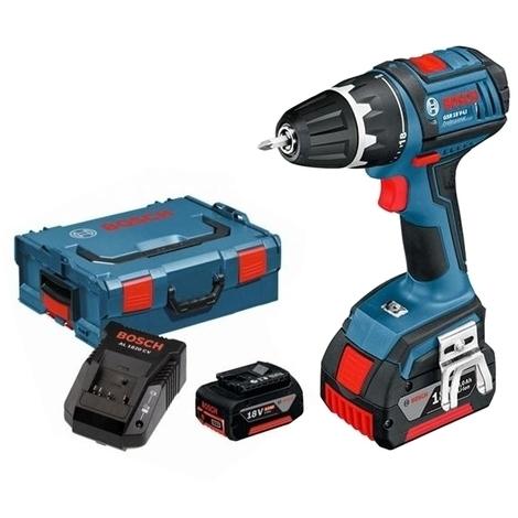 Perceuse visseuse Bosch  sans fil GSR 18V-LI 4Ah + 2 batteries + chargeur + L-BOXX