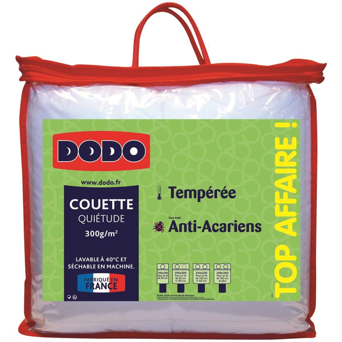 Sélection de produits Dodo en promotion - Ex : couette tempérée Quietude - anti-acariens, différentes tailles - Ex : 140x200 cm