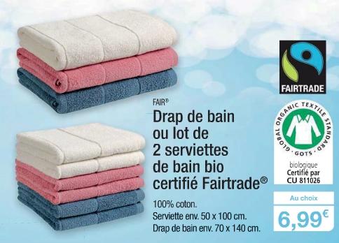 Drap de bain ou lot de 2 serviettes - 100% Coton Bio