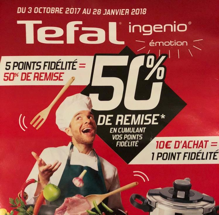 50% de remise sur une sélection de produits Tefal Ingenio pour 50€ dépensés - Casino, Hyper Casino & Géant Casino (via fidélité)