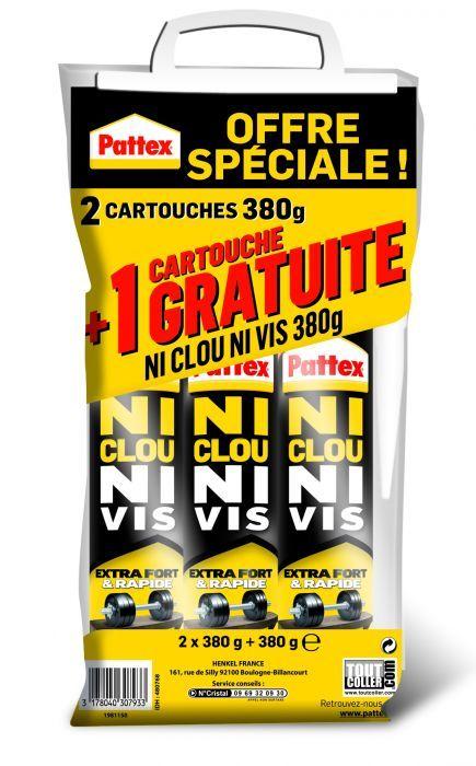Lot de 3 Cartouches Pattex Ni Clou Ni Vis (Via ODR 100% remboursés)