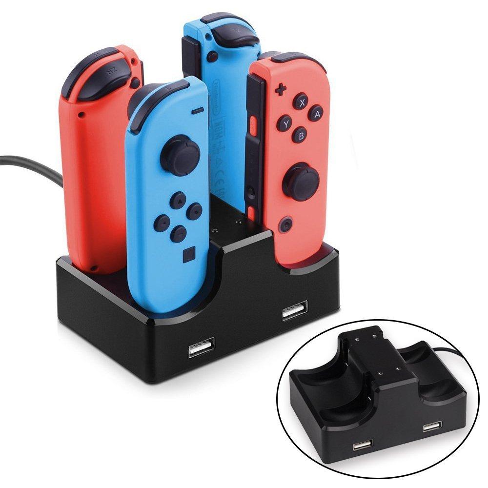 Station/Dock de recharge pour 4 Manettes Nintendo Switch Joy-Con + 2 Ports USB