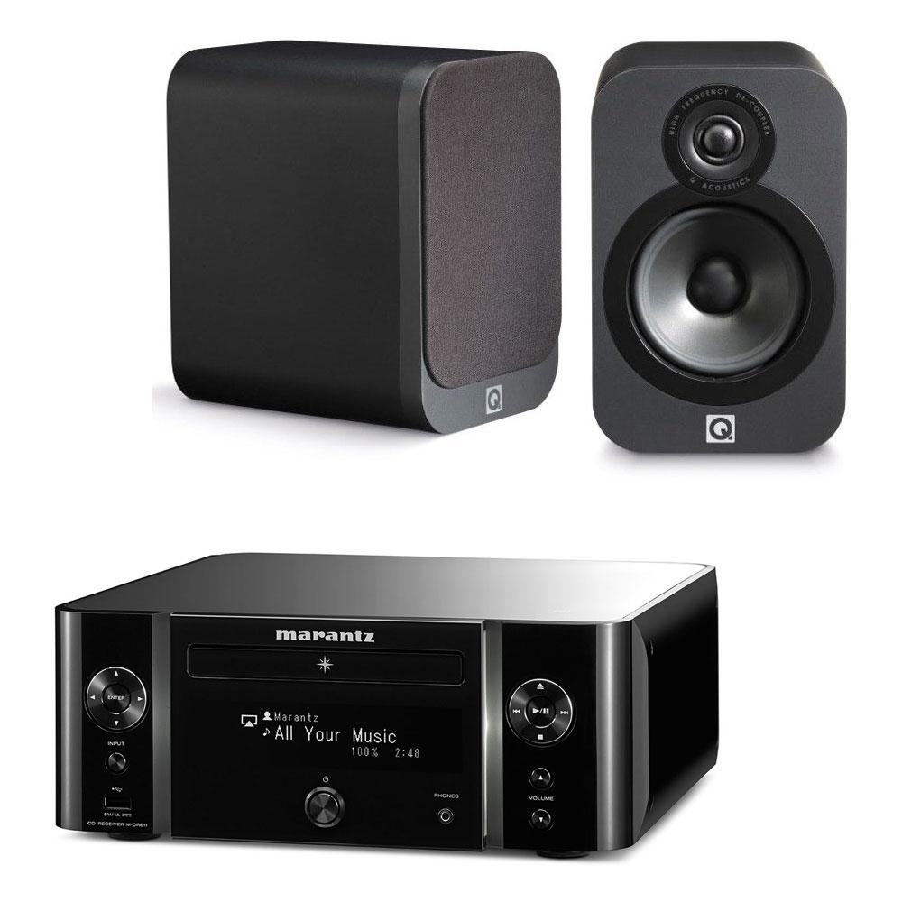 Ampli Hi-Fi Réseau Marantz M-CR611(noir) + paire d'enceintes bibliothèques Q acoustics 3020 (walnut ou graphite)