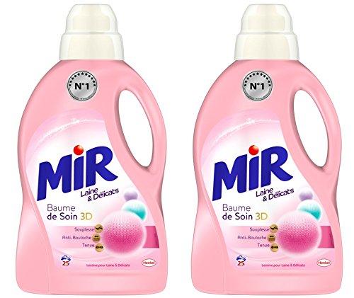 [Panier plus] Mir Laine Lessive Liquide Concentrée Laine & Délicats - 25 Lavages - Lot de 2