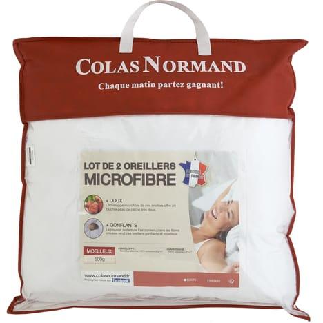 COLAS NORMAND Lot de 2 oreillers moelleux - 50x70 cm - 60x60 cm