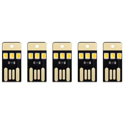 5 Mini lampes USB LED de poche (lumière blanche chaude)