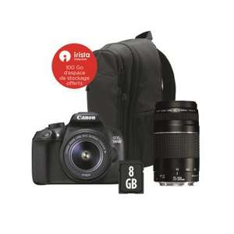 Pack appareil photo numérique reflex Canon EOS 1300D (18 Mpix, CMOS, fill HD) + objectifs 18-55 III & 75-300 III + sac à dos + carte SD (8 Go)