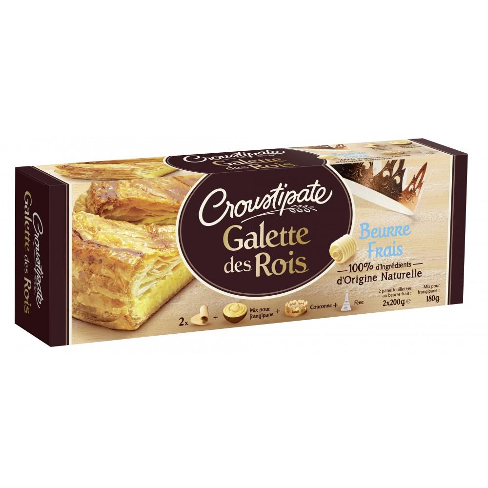 Kit pour galette des rois Croutipâte - 2 pâtes feuilletées (200 g) + 1 mix pour frangipane (180 g) + 1 couronne + 1 fève