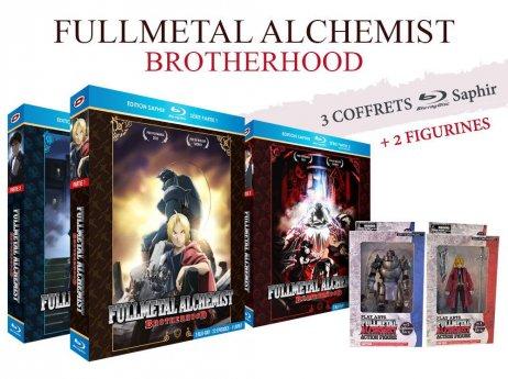 Coffret Blu-ray Fullmetal Alchemist : Brotherhood - Intégrale avec 2 figurines - Edition Saphir