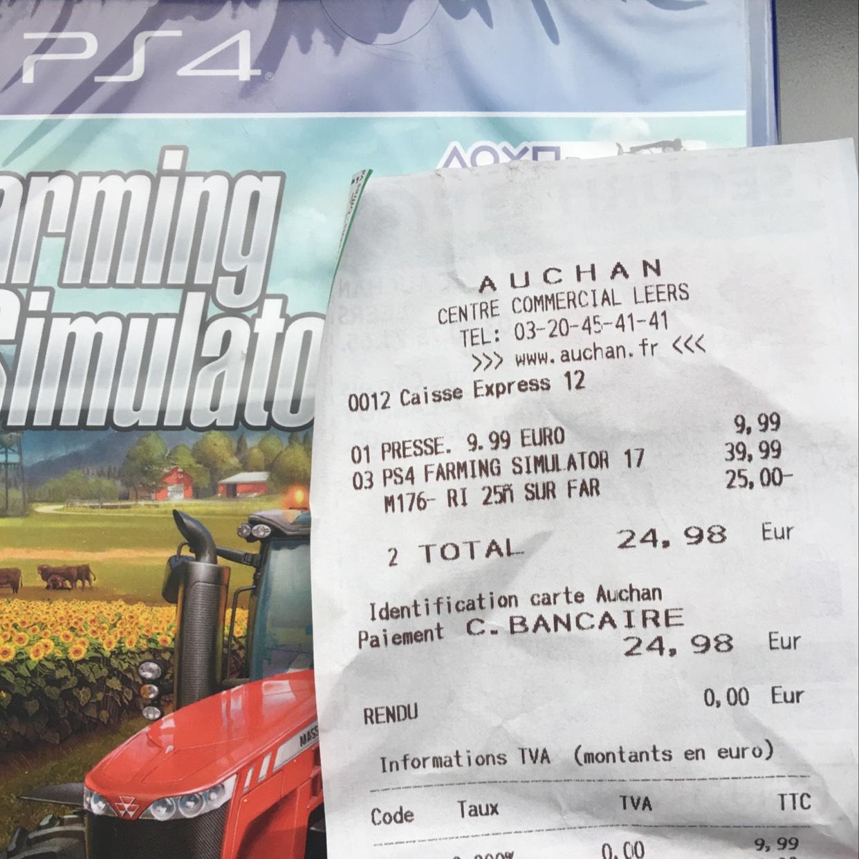 Jeu Farming simulator 2017 sur PS4 (Auchan leers - 59)