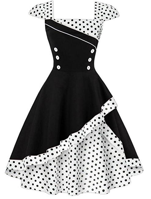 Sélection de robes Zaful en promotion - Ex : Vintage style Rockabilly - taille L ou XXXXL, noir à pois avec col carré (vendeur tiers)